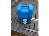 Blue fiamma waste water tank on wheels
