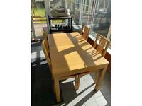 IKEA extending bjursta table and 4 chairs