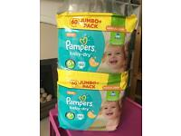 2x unopened packs of pampers 6+ nappies