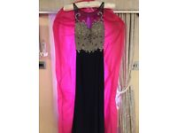 Stunning navy blue /nude embellished backless gown size 8