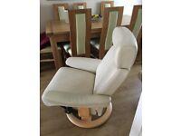 2 x Stressless Swivel & Reclining Armchairs & 1 x Footstool