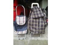 Mobile Shopping Trolley's (pair - small 30 x88cm & larger 45 x 92cm)