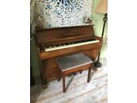 Walnut Wood small piano and stool for sale