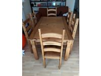Pine dining table & 6 chairs. Excellent condition. Collection only.