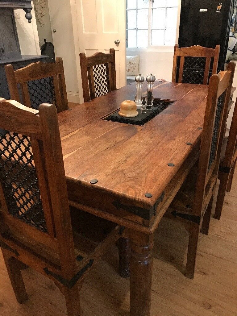 Indian jali dining table & 6 chairs