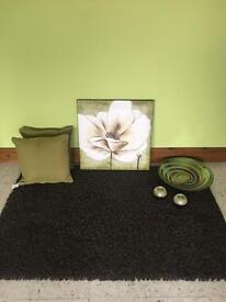 Thick brown Rug , 2 cushions , canvas