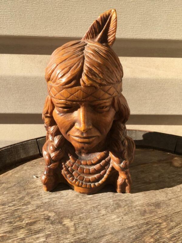 Vintage Resin Native American Bust Head Sculpture Indian Beautiful EUC