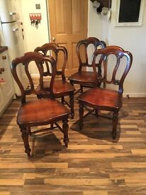 4 Dark Wood Dining Room Chairs