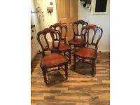 4 Dark Wood Dining Room Chairs