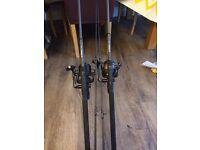 catfish & carp nash rods and Cormoran bait runner's