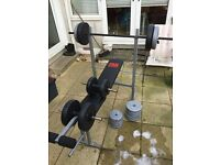 Pro power weight bench with bumbbells and extra weights