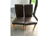 Pair of Faux Brown Leather Dinning Chairs - Ideal Emergency Xmas Chairs ! * Free Table * Multibuy