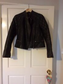 All Saints women's leather Jacket size 10/12 in an authentic black colour. Excellent condition