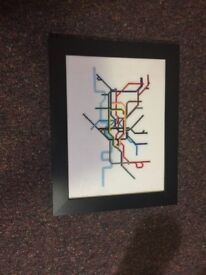 handmade cross stich of london underground tube system