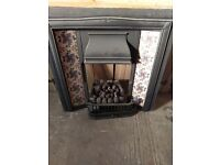 victorian fire place, gas fire & slate hearth