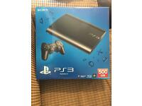 PS3 SUPER SLIM 500gb BLACK , with power cable, box and Component/scart