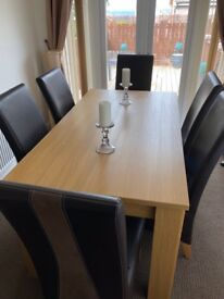 Dinning Wood Table with 6 chairs
