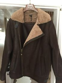 Real sheepskin/Leather Antique style pilot Coat Size M (41-43 inch chest) Never Worn