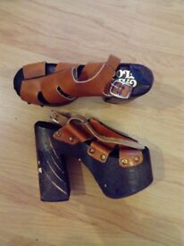 Vintage 60s platforms. Wooden and faux/vegan leather