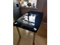Black Glass Dining Table - Great Condition