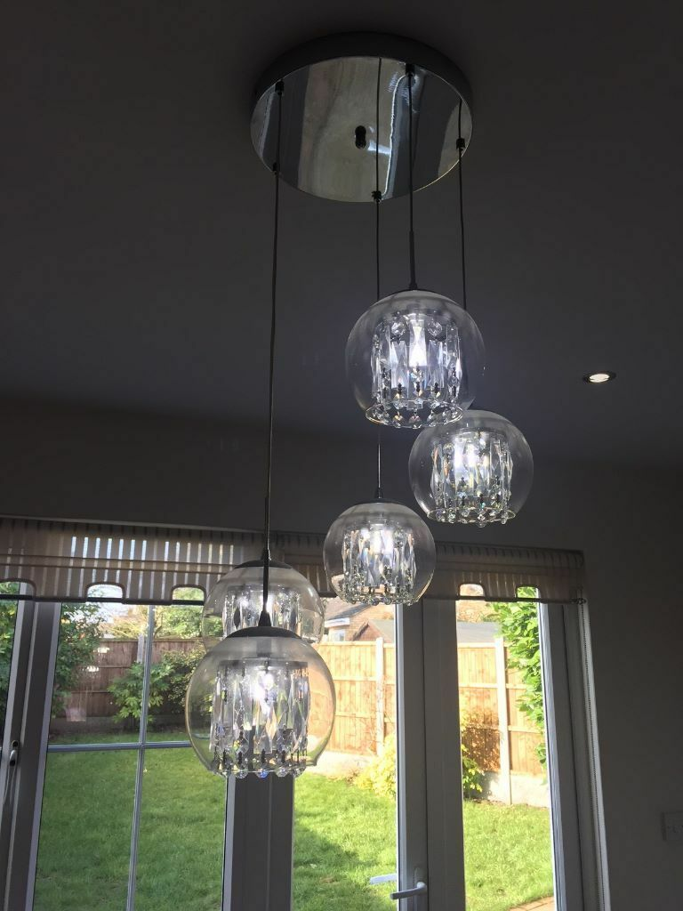 Bhs 5 light glass crystal spiral pendant chandelier led cool bhs 5 light glass crystal spiral pendant chandelier led cool white bulbs arubaitofo Image collections