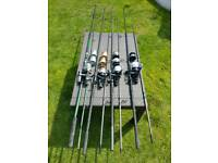 Fox Warrior rods and Shimano baitrunners
