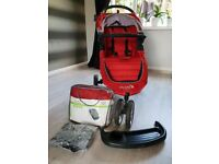 Baby Jogger City Mini 3 Wheel Pushchair, Crimson with Footmuff, raincover, bumperbar, tray
