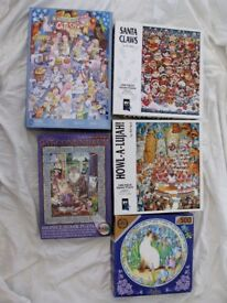 FIVE CAT/DOG JIGSAW PUZZLES ALL COMPLETE