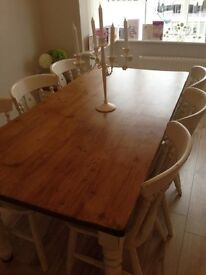 Table and chairs 6ft x 3ft Pine 6 Chairs Stunning Shabby Chic Farmhouse Annie Sloan £400 ono