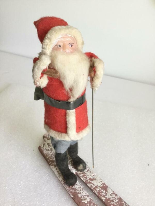 "TALL VINTAGE 7"" RED FELT SKIER SANTA CLAUS WITH BLUE SACK JAPAN ?CHRISTMAS"