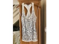Oasis sequin silver top