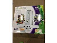 Xbox360 white special edition 500GB Kinect, 2 controllers, charger,steering wheel, pedals, headset