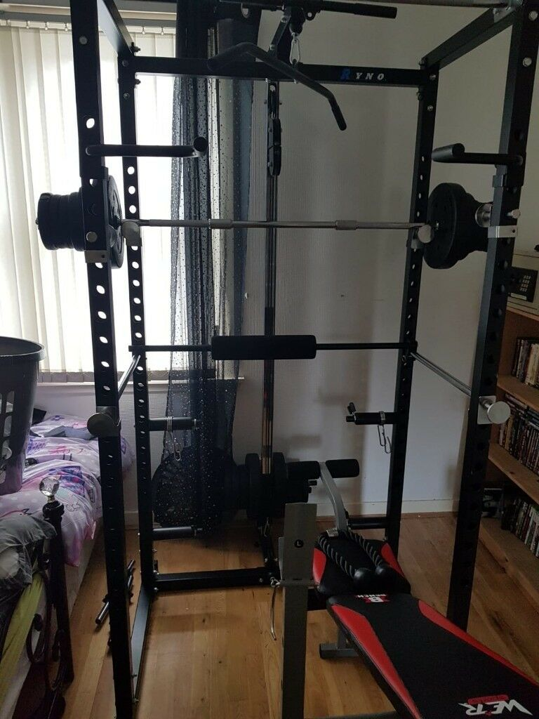 Multi Gym Ryno Ultimate Power Rack Squat Cage Gym W Lat