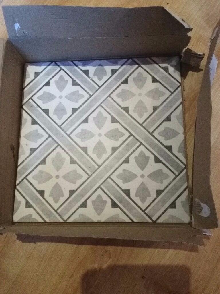 Laura Ashley \'Mr Jones\' grey and white floor tiles, one box +1 extra ...