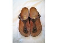 Birkenstock Women's Gizeh Toe-Post Leather Sandals - Size 38 / 5