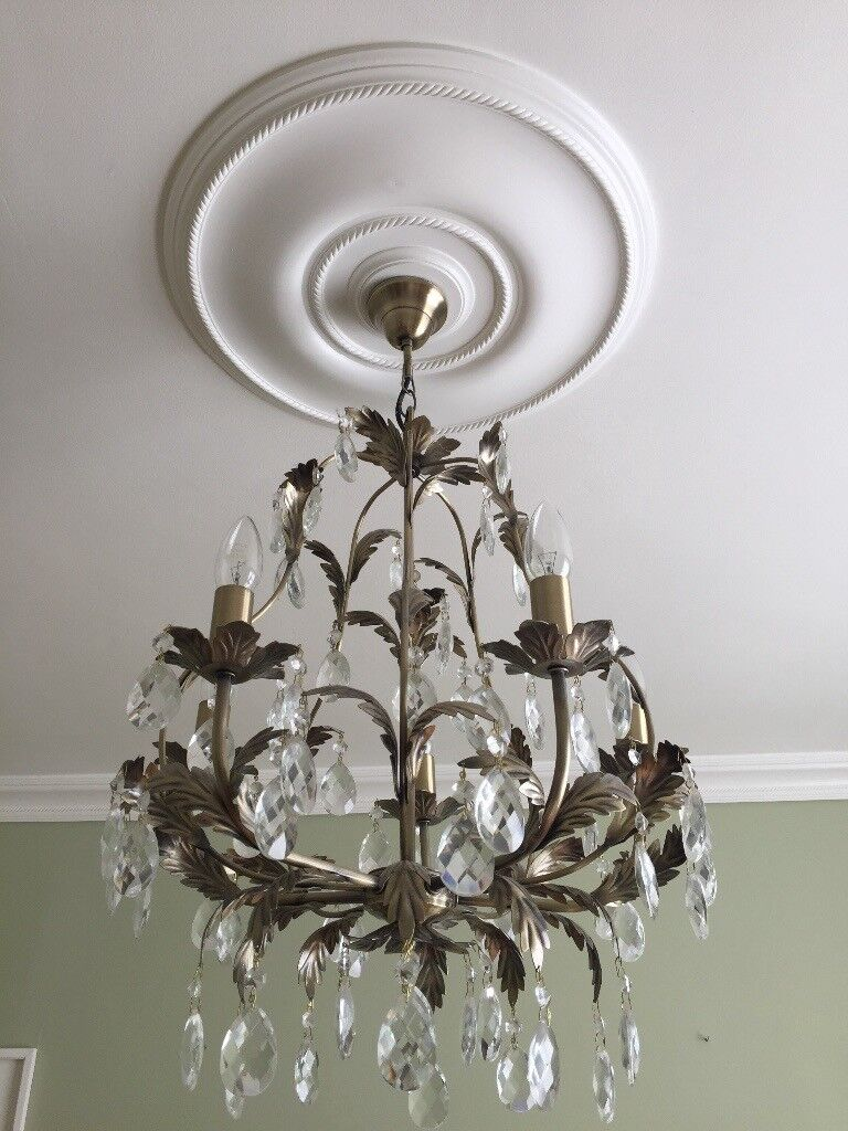 2no. cut glass and metal chandeliers REDUCED