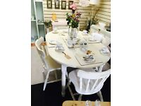 Shabby chic extending table with 4 matching chairs