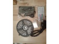 Colour changing slim LED strip, 5m 5050 (300 leds) and adaptor and remote