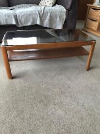 Myer smoked glass & teak vintage coffee table