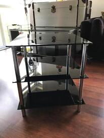 Black glass 3 tier side table