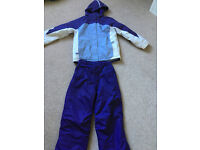 Girl's purple/lilac/ white ski jacket and matching ski trousers - age 10-12