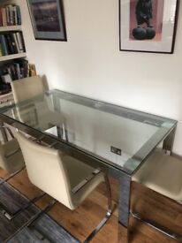 Glass dining table + 4 chairs. V good condition.