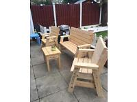 WOODEN GARDEN HAND MADE FURNITURE SOLID PATIO SET 2 SEATER 2 CHAIRS 1 TABLE
