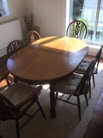 Dining/Banquet Table and six Chairs
