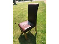 Brown leather dining chair. Free to a good home