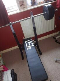 Gym Equipment. Bench, Barbell, Tricep Bar, Dumbells, Pull Up Bar, Grips etc