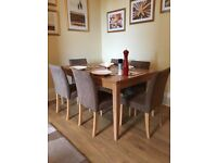 Solid Oak Dining Table and Six Brown Velvet Chairs