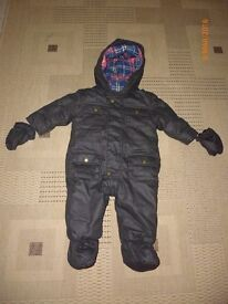 Brown Snow/Winter Suit with detachable mittens (6-9 Months)