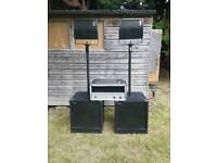 1700w RMS Deltec DJ/PA setup (+amp, cables & flight case)