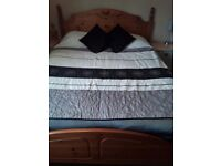 Antique solid pine kingsize bedframe and orthopedic mattress